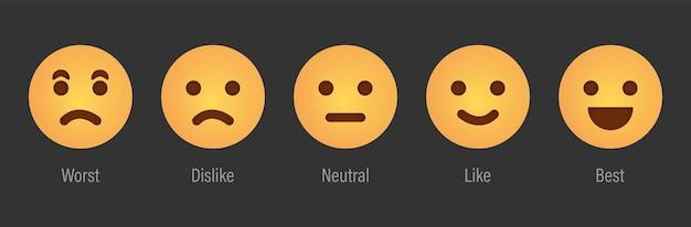 Feedback-skalendienst mit emotionssymbolen benutzerrate mit feedback-skala-vektorillustration