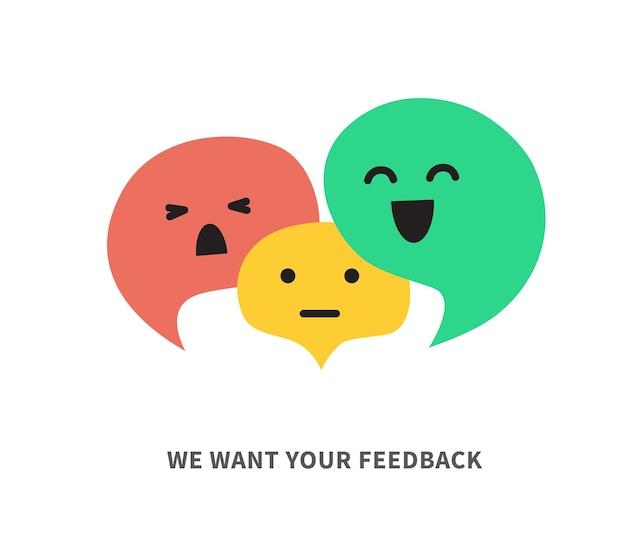 Feedback-sprechblasen-konzeptbanner für unternehmen, marketing und werbung mit drei verschiedenen farb-sprechblasen