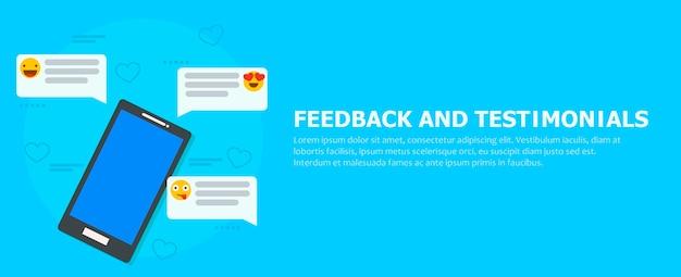 Feedback und testimonials banner. telefon mit rezensionen, emoticons und kommentaren.