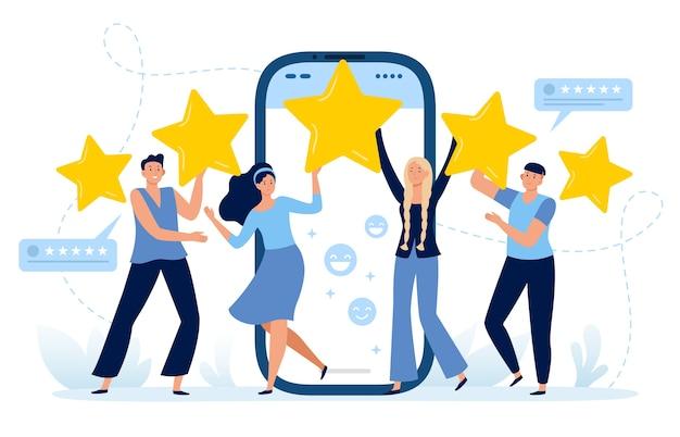 Feedback zur mobilen app mit fünf sternen