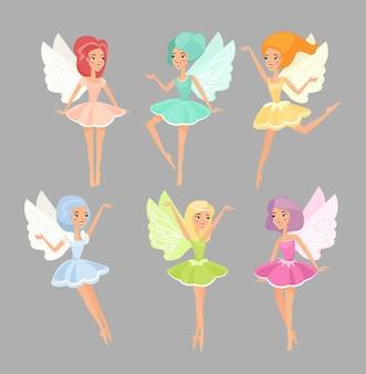 Feen flache illustrationen gesetzt. magische märchenwesen süße mythische fliegende elfen