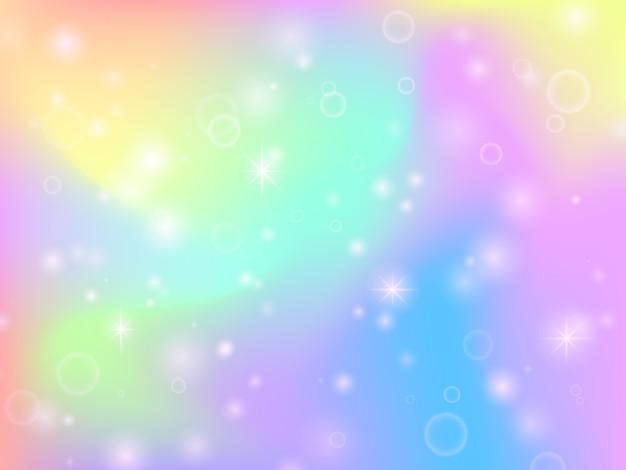 Feenhafter einhornregenbogenhintergrund mit magischen scheinen und sternen. mehrfarbenphantasiezusammenfassungs-vektorhintergrund