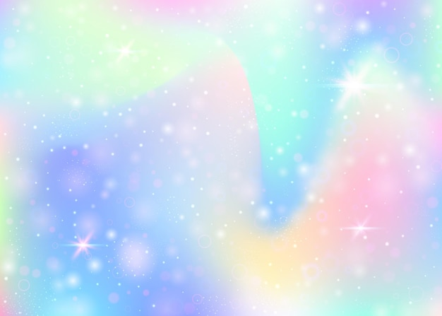 Feenhafter hintergrund mit regenbogenmasche. kawaii universum banner in prinzessinnenfarben. fantasiesteigungshintergrund mit hologramm. holographischer feenhafter hintergrund mit magischen funkeln, sternen und unschärfen.