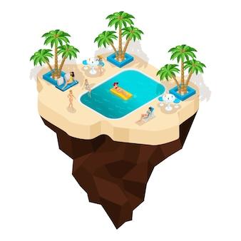 Feeninsel, cartoon, mädchen baden im pool, mädchen im badeanzug ruhen, palmen, sommersonne. urlaub in warmen ländern