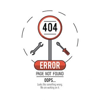 Fehler 404 infographic über weißem hintergrund