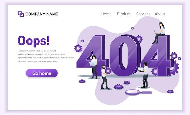 Fehler 404-konzept. leute, die an laptops arbeiten und versuchen, fehler zu beheben