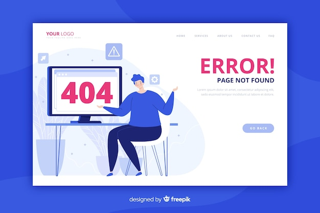 Fehler 404 landing page flat style