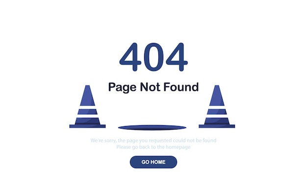 Fehler 404 landing page mit straßenkegeln in flachem design