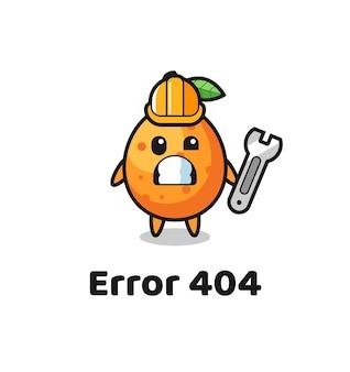 Fehler 404 mit dem süßen kumquat-maskottchen, süßem stildesign für t-shirt, aufkleber, logo-element