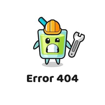 Fehler 404 mit dem süßen melonensaft-maskottchen, süßem stildesign für t-shirt, aufkleber, logo-element