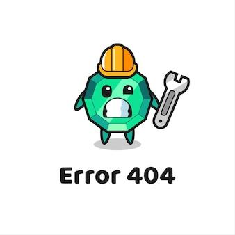 Fehler 404 mit dem süßen smaragd-edelstein-maskottchen, süßem stildesign für t-shirt, aufkleber, logo-element