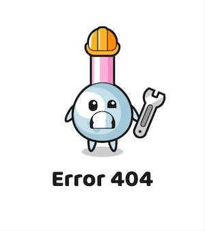 Fehler 404 mit dem süßen wattestäbchen-maskottchen, süßem stildesign für t-shirt, aufkleber, logo-element