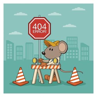 Fehler 404 mit lustigem mouses cartoon
