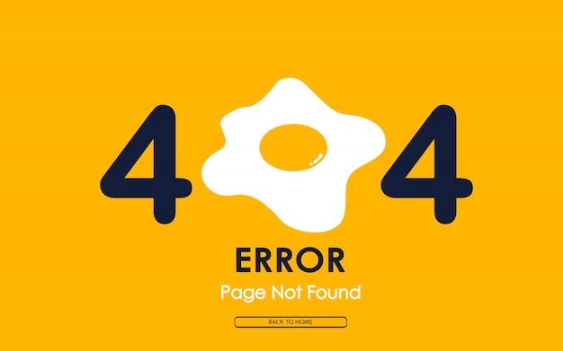 Fehler 404 mit spiegelei auf gelbem hintergrund