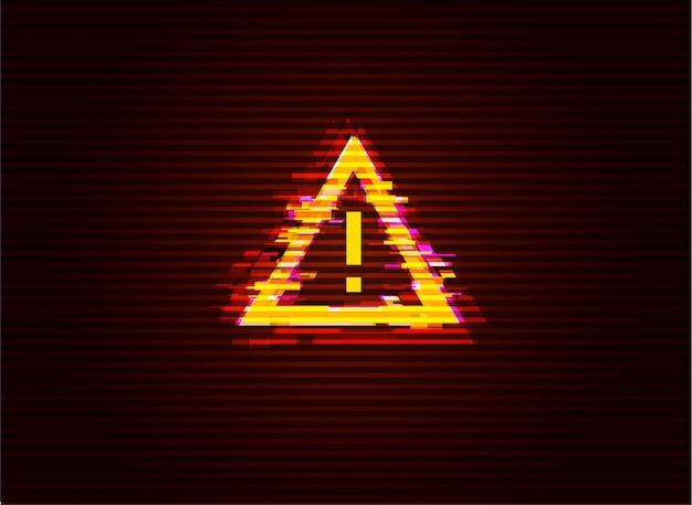 Fehlerhafte aufmerksamkeit / gefahrensymbol. computer gehacktes fehlerkonzept. illustration.
