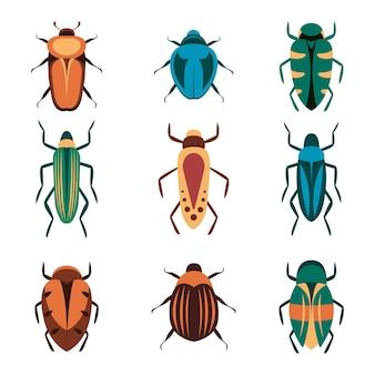 Fehlervektorikonen für webdesign lokalisiert auf weißem hintergrund. bug and insect im cartoon-stil.