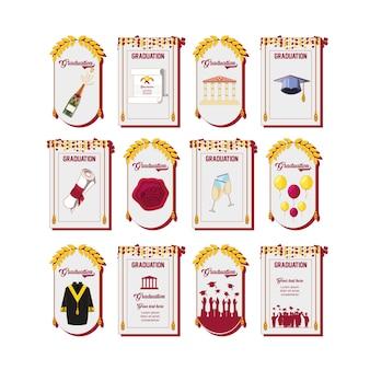 Feier-abschluss-karten-set-icons