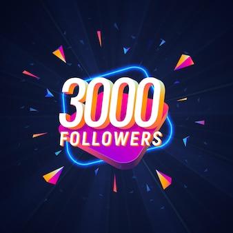 Feier der dreitausend follower in den sozialen medien