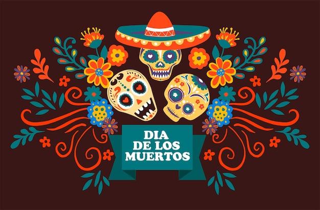 Feier des dia de los muertos, tag des toten mexikanischen feiertags