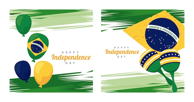 Feier des glücklichen unabhängigkeitstags brasiliens mit luftballons helium und maracas in der flagge