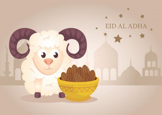 Feier des muslimischen gemeinschaftsfestivals eid al adha, karte mit opferschaf und teller
