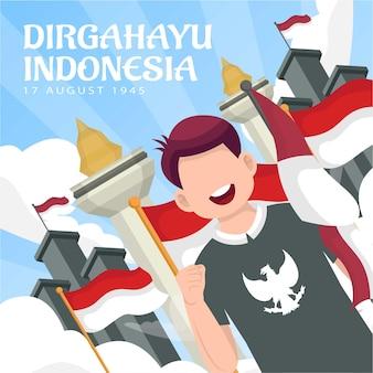 Feier des unabhängigkeitstages indonesiens am 17. august (dirgahayu republik indonesien). indonesische nationalflaggen. vektorillustration
