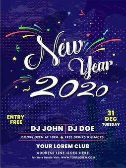 Feier-einladungskarte oder -schablone des neuen jahres 2020 mit ereignisdetails über purpurroten halbtoneffekt.