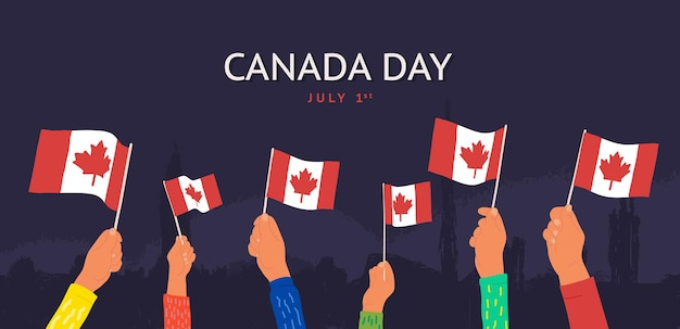 Feier glücklich kanada tag juli st vektor-illustration cartoon hände winken kanada-flaggen auf dunkel