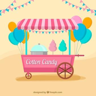 Feier hintergrund mit wagen süßigkeiten in flachen design