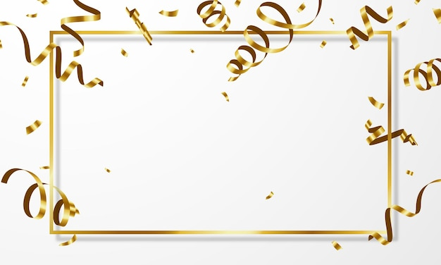 Feier hintergrundvorlage mit konfetti goldbändern