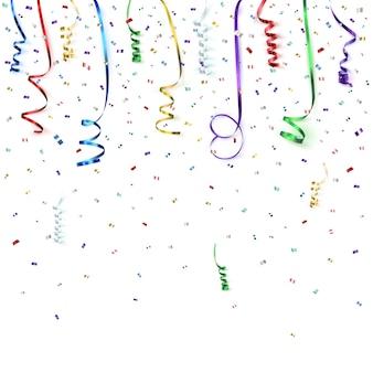 Feier hintergrundvorlage mit konfetti und bunten bändern. illustration.