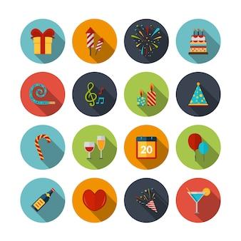 Feier icons set