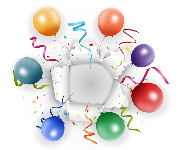 Feier in geripptem papier mit band und konfetti