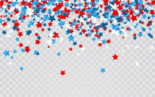 Feier konfetti in den nationalfarben der usa. feiertagskonfetti in den farben der us-flagge. 4. juli unabhängigkeitstag Premium Vektoren