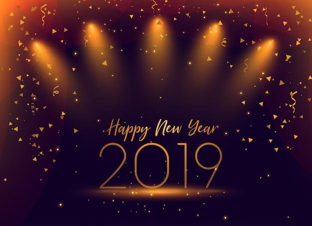 Feier-konfettihintergrund des neuen jahres 2019
