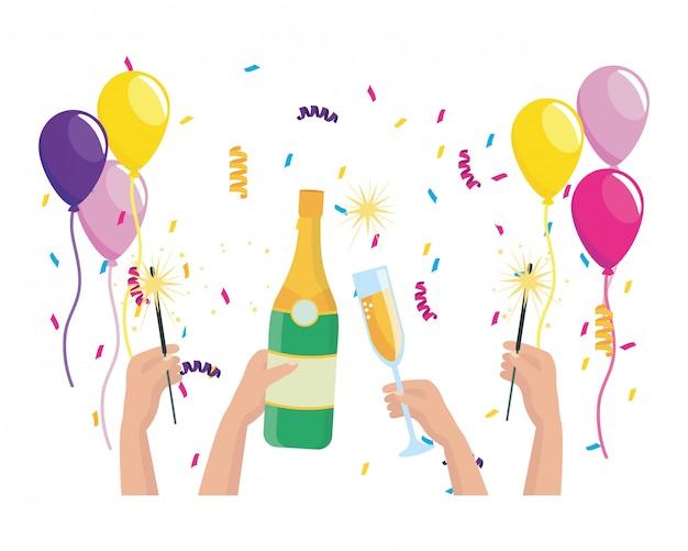 Feier mit champagner und luftballons