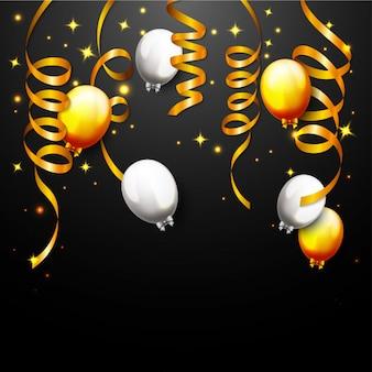 Feier party banner mit goldenen ballons und konfetti