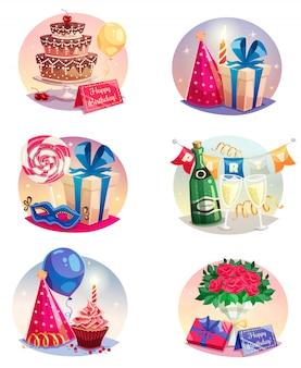 Feier-set von isolierten luftballons