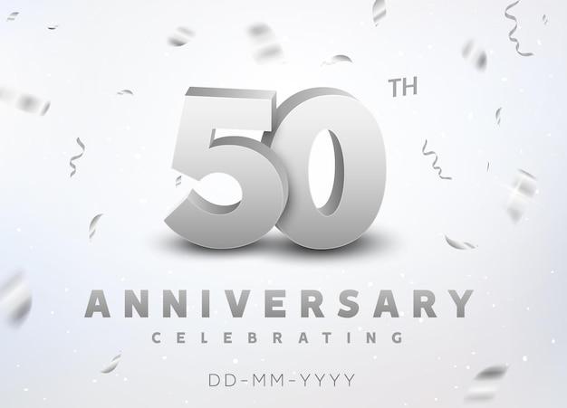 Feier zum 50-jährigen jubiläum der silbernen zahl. jubiläumsbanner-zeremonie-design für das alter von 50 jahren. Premium Vektoren