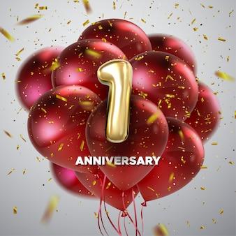 Feier zum ersten jahrestag. goldene nummer 1 mit funkelnden konfetti und fliegenden roten luftballons. festliche illustration. realistisches 3d-zeichen. geburtstags- oder hochzeitsfeier-ereignisdekoration
