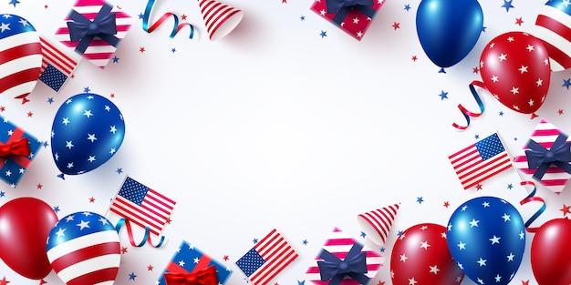 Feier zum unabhängigkeitstag der usa mit amerikanischer luftballonflagge.