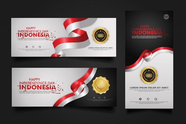 Feier zum unabhängigkeitstag indonesiens, banner-set design template illustration