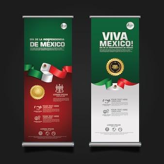 Feier zum unabhängigkeitstag von mexiko, roll-up-banner-set-vorlage.