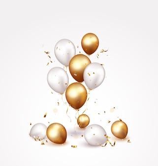 Feierbanner mit goldenen konfetti und luftballons