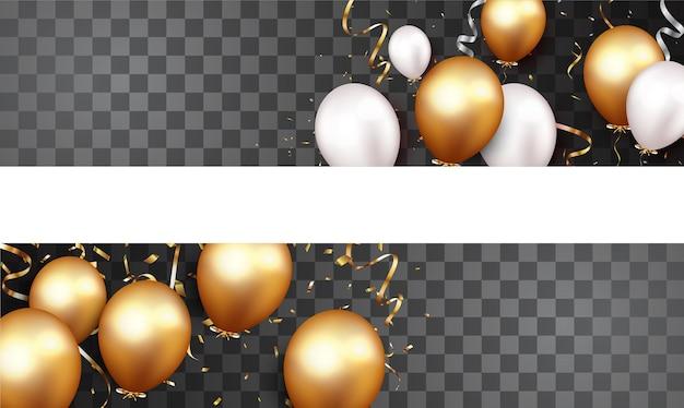 Feierbanner mit goldkonfetti und luftballons isoliert
