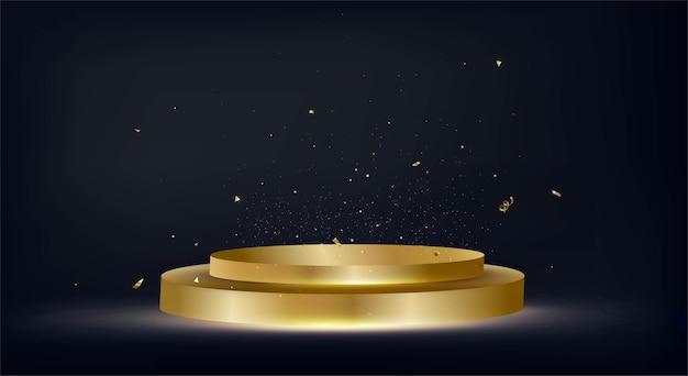 Feierentwurf mit goldenem podiumhintergrund