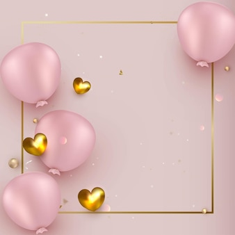 Feierentwurf mit luftballons auf einem rosa