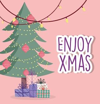 Feierfall der frohen weihnachten beleuchtet baumkugeln und -geschenke