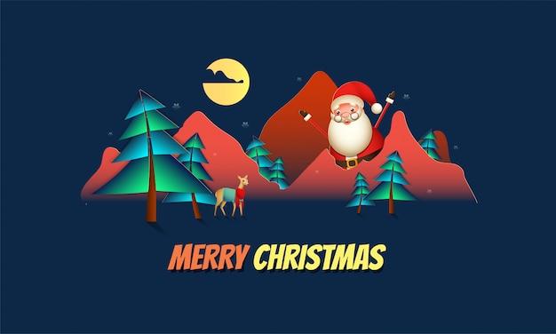 Feiergrußkarte der frohen weihnachten mit glücklichem weihnachtsmann-charakter, ren und papier schnitt vollmondnatur-landschaftsansicht.