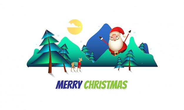 Feiergrußkarte der frohen weihnachten mit glücklichem weihnachtsmann-charakter und -ren auf papier schnitt sonnige naturlandschaftsansicht.